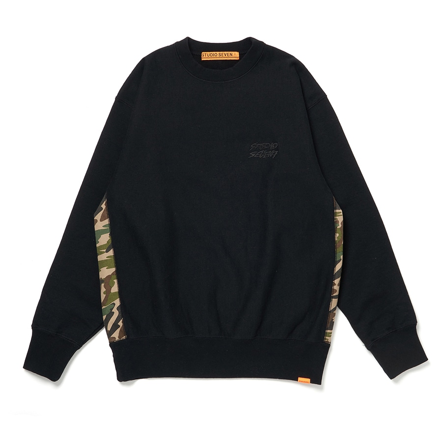 Side Camo Panel Sweat Shirt 詳細画像 Black 1