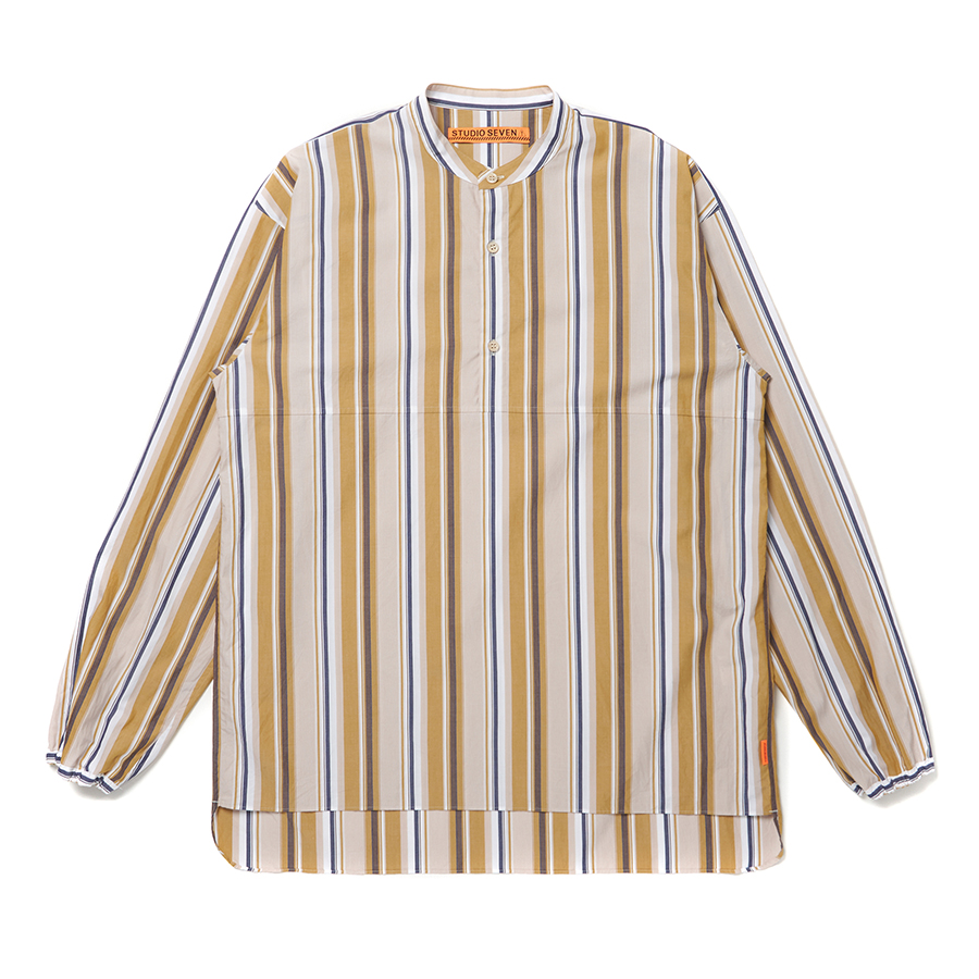 Mao Collar Tall Shirt 詳細画像 Stripe 1