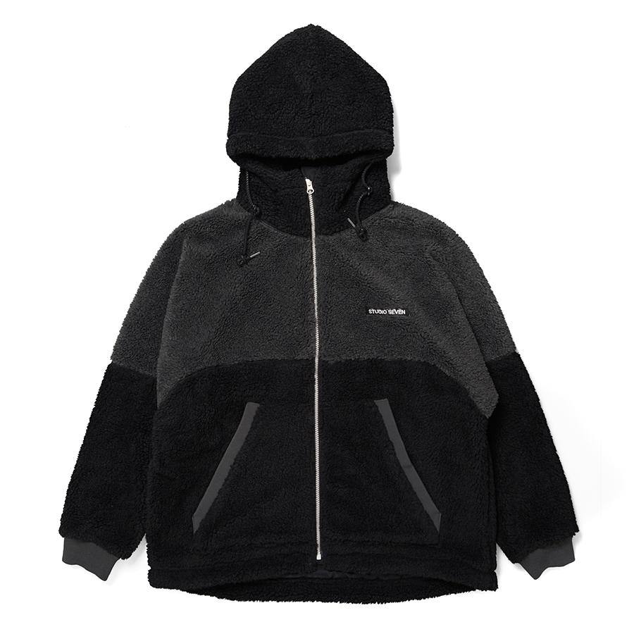 Switching Boa Hood Jacket 詳細画像 Black 1