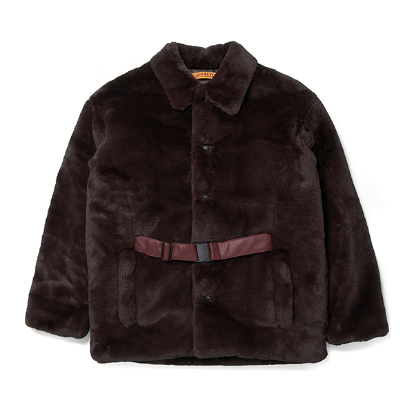 Front Belt Faux Fur Middle Coat 詳細画像
