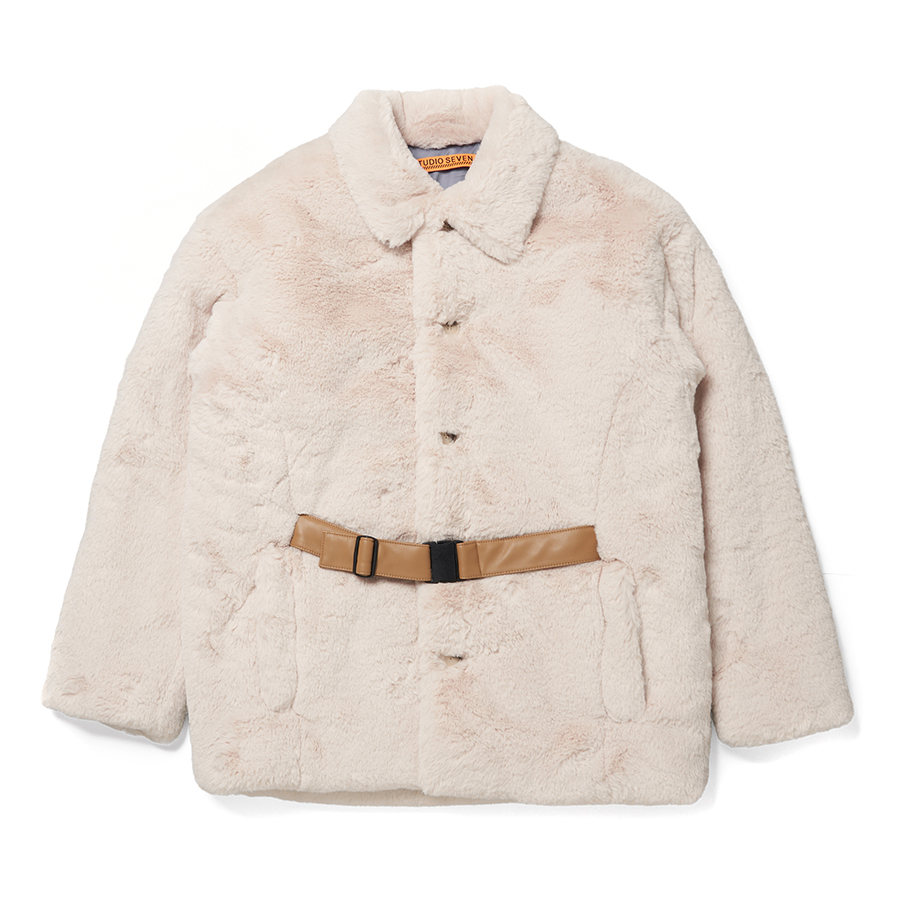 Front Belt Faux Fur Middle Coat 詳細画像 Cream 1