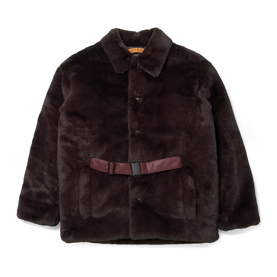 Front Belt Faux Fur Middle Coat 詳細画像 Brown 1
